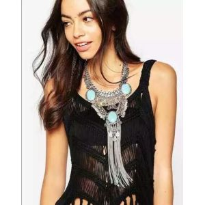 N-5723 European style silver chunky chain 3 row big turquoise gem stone snap silver metal long tassel choker statement necklace