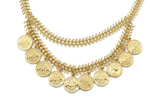 N-5718 New Fashion Bohemian Vintage Gold Coin Necklaces & Pendants Metal Link Chain Bib Collar Statement Necklace