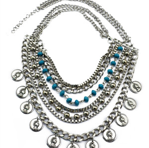 N-5728 New Fashion Bohemia Silver Plated Coin Fringe Multilayer Chain Charm Alloy Statement Necklace