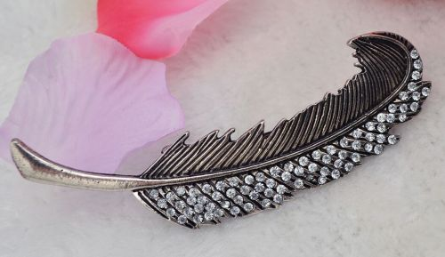 New Fashion European Popular Retro Carving Big Leaves Crystal Hair Clip Hair Accessory