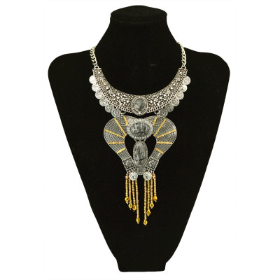 N-5732 New Fashion Silver Gold Plated Carved  Nature Turquoise Beads Pendant Collar Choker Bib Statement Necklace Bohemian Turkish Women Retro Jewelry