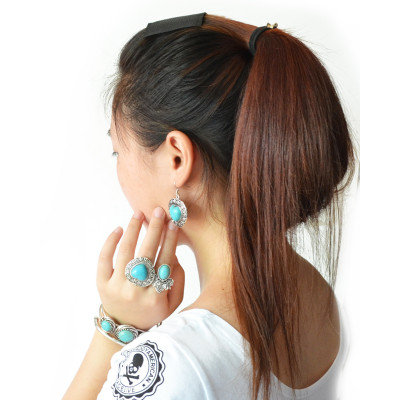 E-3552 Bohemian vintage style sliver plated heart shape turquoise beads pendant dangle earrings for womens