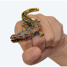R-1243 New Design Vintage Bronze Exaggerate Colorful Rhinestone Punk Crocodile Head Rings Fashion Jewelry For Women