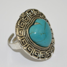 R-1244 Bohemian Style Tibet Silver Carved Vintage Flower Big Turquoise Heart Stone Women Ring