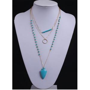 N-5737 New Retro Fashion Drop Bohemain Arrow Blue Crystal Beaded Long Necklace