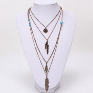 N-5742 Bohemain multilayer chain turquoise beads queen head coins leaf tassel pendant necklace
