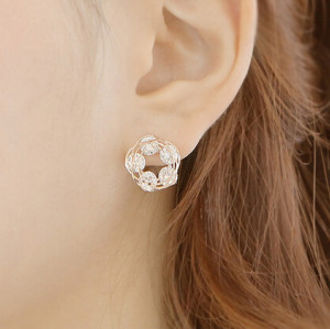 E-3554 Korean Fashion Jewelry Gold Plated Full Charm Crystal Rhinestone Flower Shape Stud Earrings for Women