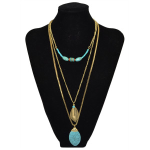 N-5739 Bohemian style long 3 layers gold plated gold leaves turquoise beads ellipse drop pendant necklace for womens jewelry