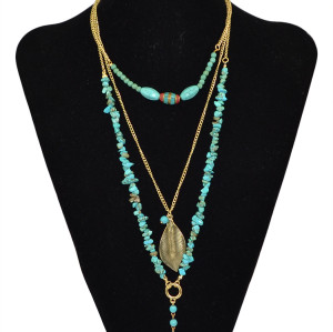 N-5740 Bohemian Fashion Summer Jewelry Turquoise Beads Statement Necklace Gold 3 Multi-Layer Chains Leaf Pendant Necklace for Women