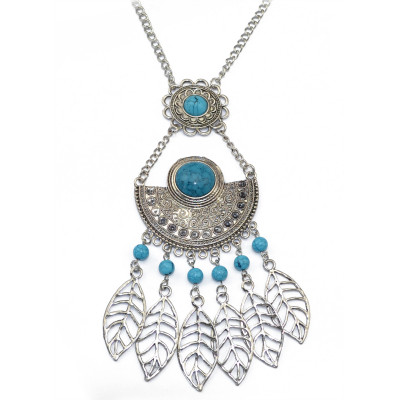 N-5746 Bohemian style tibet silver chain crescent balck blue big gem stone african beads metal hallow leaves tassel ethnic layered pendant necklace