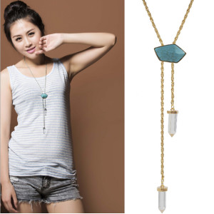 N-5495 Fashion style gold silver plated alloy blue long chain crystal turquoise pendant necklace