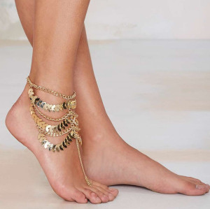 New Fashion  Trends European Korea Gold Plated Multilayer Chain Beauty Anklets