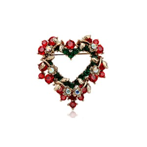 P-0189 New design fashion golden plated alloy full rhinestone Christmas heart shape Brooch flower brooch for womens jewelry