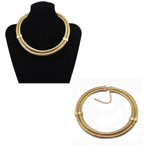 N-5744 New Korea fashion style gold plated round double chain choker necklace