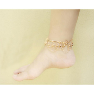 B-0579 New Fashion Women Lady Small Bells Tassel Anklet Bracelet Gold Ankel Chains Barefoot Sandal Beach Foot Chains Jewelry