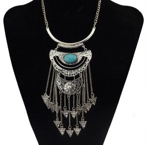N-5751 Bohemian Style Tibet Silver Chain Blue Big Gem Stone Beads Metaltassel Pendant Necklace