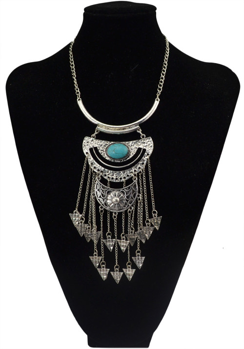 N-5751 Bohemian Style Tibet Silver Chain Blue Big Gem Stone Beads Metaltassel Pendant Necklace