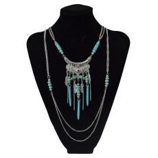 N-5752-S Bohemian style multu layer gold chain carved vintage flower rivet turquoise bead tassel pendant necklace boho ethnic women jewellery