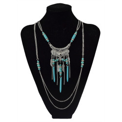 N-5752-S Bohemian style multu layer gold chain carved vintage flower rivet turquoise bead tassel pendant necklace boho ethnic women jewellery