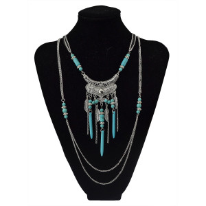 N-5752 Bohemian style multu layer gold chain carved vintage flower rivet turquoise bead tassel pendant necklace boho ethnic women jewellery