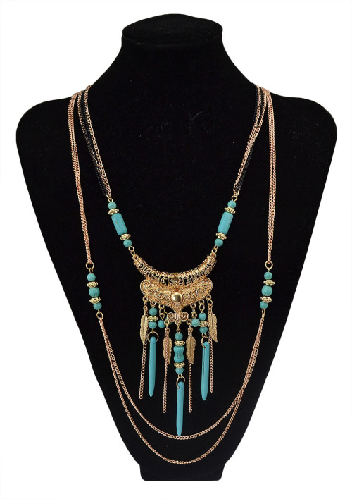 N-5752 Bohemian style multu layer gold chain carved vintage flower rivet turquoise bead tassel pendant necklace boho ethnic women jewellery