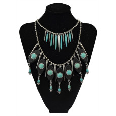 N-5750 New Arrive Bohemia Multilayer Chain Turquoise Rivet Tassel Statement Necklace