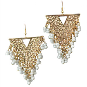E-3555 New Arrive Women Fashion Jewelry Triangle Shape Beads Tassel Gold Plated Earrings