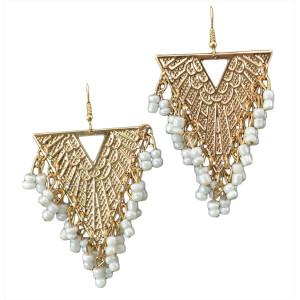 E-3555 New Arrive Women Fashion Jewelry Triangle Shape Beads Tassel Gold Plated Earrings