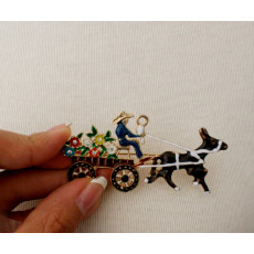 P-0190 American Style Fashion Gold Plated rhinestone beautiful lovely flower carriage Brooch Pin