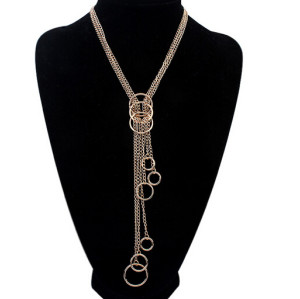 N-5756 New Arrival European Luxury Gold Plated Round Long Tassel Multilayer Sweater Chain Pendant Necklace for Women Jewelry