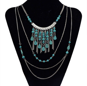 N-5758 New Arrived Gypsy Bohemia Gold Silver Plated Turquoise Tassel Necklace