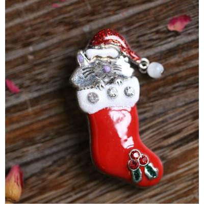 P-0191Fashion Red Cat Alloy Beautiful Lovely Christmas Brooch Pin