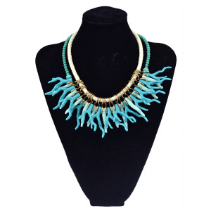 N-5759 European style rope glass blue seed beads chain coral flower multi tassel choker bib statement necklace for women accessories
