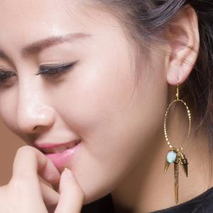 E-3560 Bohemian Style gold & silver Plated geometric shape tassel turquoise dangle earrings