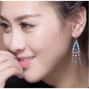 E-3559 Bohemian Retro Tibetan Silver Gold Plated Blue Resin Bead Geometry Tassel Long Dangle Earrings For Women Jewelry