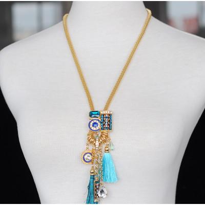 N-5766 Bohemian style silver gold snake chain emerald crystal rhinestone stone handmade braid thread tassel long pendant necklace earrings set