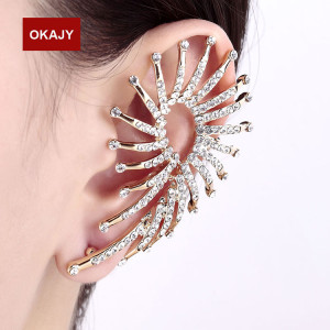 E-3556 European Style gold Plated branch shape crystal clip earrings fashion jewelry