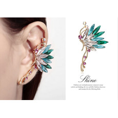 E-3558 New Fashion Charms Colorful Crystal Butterfly Ear Cuff Stud Earring Gold Plated  Clip On Ear Cuffs for Pierced Ears
