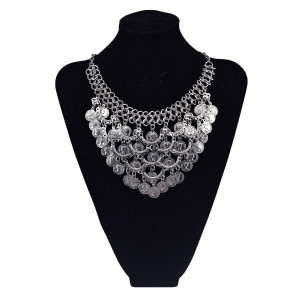 N-5762 New  Arrived  European  Women Fashion Coin Tassel  Silver  Plated  Statement Necklace