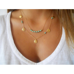 N-5764 Fashion Double  Chain Disc Turquoise Pendant Necklace for Women