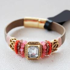 B-0583 Bohemian Leather Chain Magnetic Clasp Beads Rhinestone Crystal Bracelet