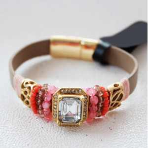 B-0583 Bohemian Leather Chain Magnetic Clasp Beads Rhinestone Crystal Bracelet