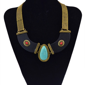 N-5774 Bohemian Vintage Silver Gold Plated Width Chains Turquoise Stone Beads Moon Collar Choker Necklace for Women Jewelry