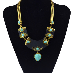 N-5773 Bohemian Silver Gold Plated Width Chains Turquoise Stone Beads triangle metal Choker Necklace