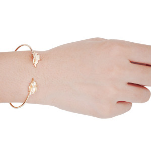 B-0582 New Arrived European Fashion Popular Silver Gold  Plated Leaf Open Bracelet