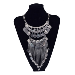N-5783 Bohemian Vintage Plated carving thread wind-bell long coins Tassel Choker Bib Necklace