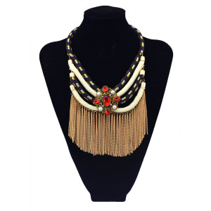 N-5782 Gypsy vintage blue black multi layer chain necklace gold long tassel charm crystal big flower choker statement necklace for women jewelry