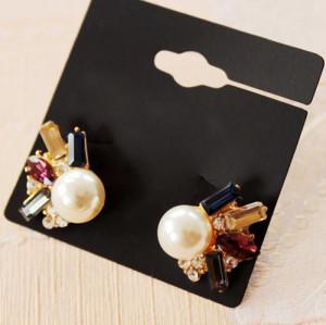 E-3567 European Fashion Elegant Colorful Crystal Pearl Stud Earrings For Women