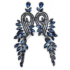 E-3572 New Fashion Women Earrings Silver Plated Charm Clear Blue Crystal Leaves Long Drop Earrings for Bridal Wedding Accessories