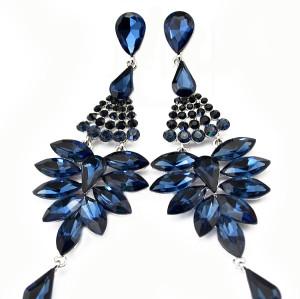 E-3573 Bohemian Silver Plated Alloy Rpyalblue Amethyst Crystal Drop Tassel Wedding Chandelier Earrings